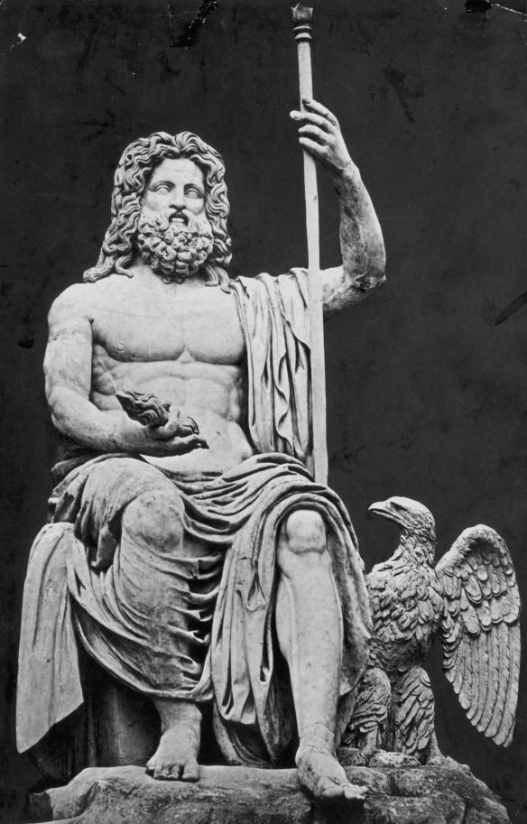 circa 1920: Jupiter, the Italian sky-god connected with rain, storms and thunder, who was identified with the Olympian Father of the gods, Zeus. A Colossal statue found on the shores of Lake Alba Longa. (Photo by Hulton Archive/Getty Images)